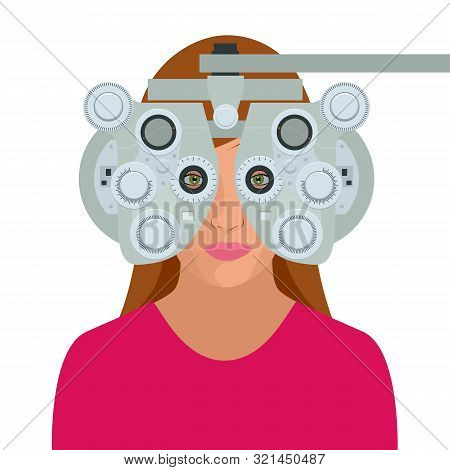 Optometrist Examining Woman With A Trial Frame In Ophthalmology Clinic. Modern Light Ophthalmology C