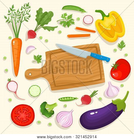 Bright Vector Illustration Of Colorful Cutting Board, Knife And Vegetables.
