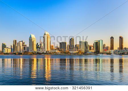 San Diego, California, USA downtown skyline at the Embarcadero.