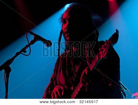 NEW YORK - APR 17: Bass guitarist Darryl Jenifer of Bad Brains performs at Irving Plaza on April 17, 2012 in New York City. The iconic East Coast punk band formed in Washington, D.C. in 1977.