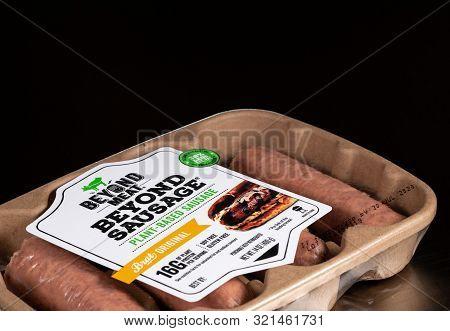 Morgantown, Wv - 10 September 2019: Packaging For Beyond Meat Beyond Plant-based Sausage On Steel Ta
