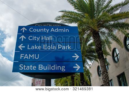 Orlando, Florida. August 17, 2019. City Hall And Lake Eola Park Sign At Downtown Area 55