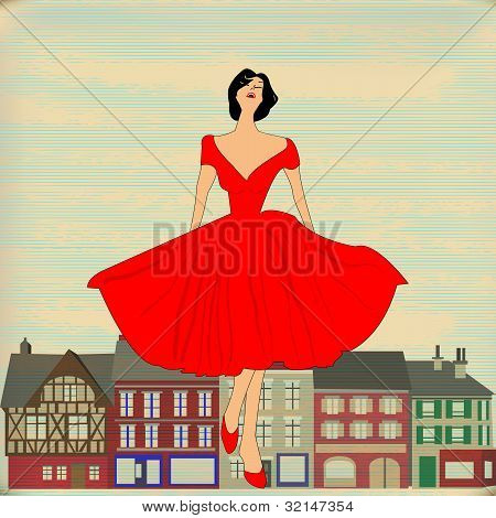 Retro Happy, Girl In Red 1950's Style Dress