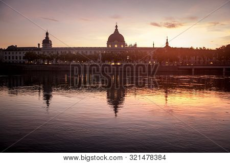 Lyon, France - July 18, 2019: Hotel Dieu In Lyon, France, Taken From The Rhone Riverbank During An E