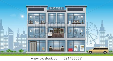 Hotel Interior Set Inside Building With Reception And Rooms, Restaurant And Cafe.vector Illustration