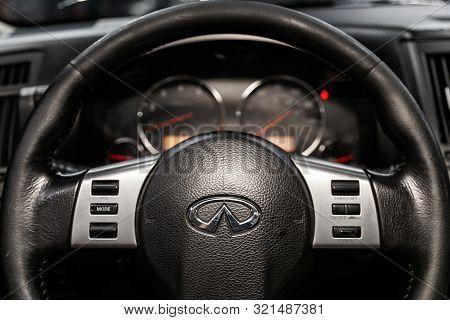 Novosibirsk, Russia - August 24, 2019:  Infiniti Fx,  Close-up Of The Dashboard, Speedometer, Tachom