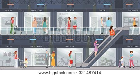 People Shopping In A Shopping Mall With Modern Retail Store With Many Shops. Shopping Interior Cente