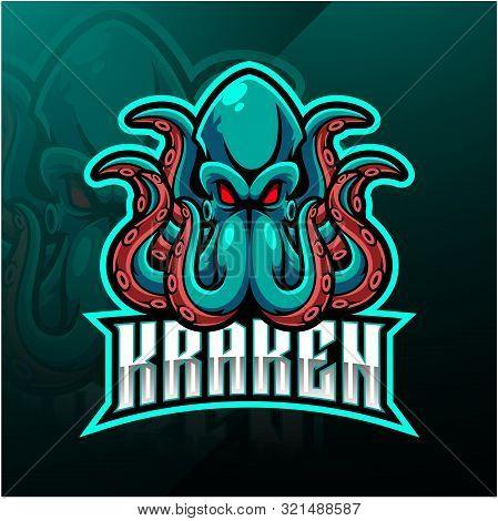 Kraken Octopus Sport Mascot Logo Design With Text