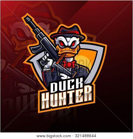 Duck hunter esport mascot logo design with text poster