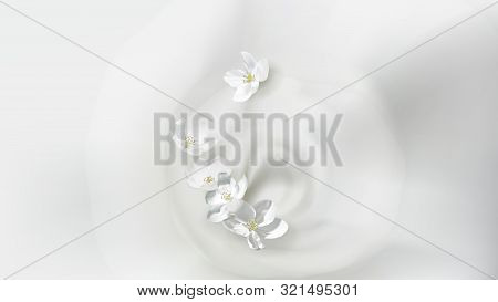 Cosmetic Realistic Vector White Poster With Cream Or Milk Swirl, Falling Jasmine Flower. Skin Care N