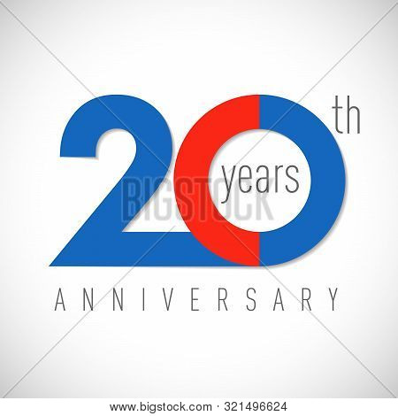 20 Th Anniversary Numbers. 20 Years Old Multicolored Logotype. Age Congrats, Congratulation Art Idea