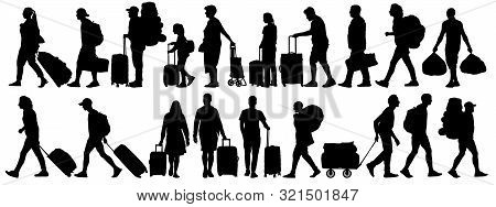 Crowd Of People Tourists. People With Suitcases Bags And Backpacks. Migration Of People. Vector Silh
