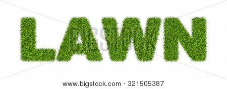 Fake Green Grass Word Lawn Made Of Or Astroturf