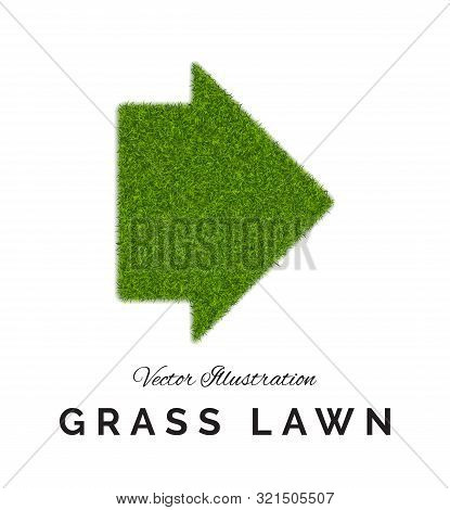 Fake Green Grass Or Astroturf Arrow Background Isolated