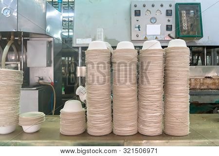 Food Bowl Made From Fiber Of Bagasse In Factory. Eco-friendly Materials It Can Be Easily Decomposed
