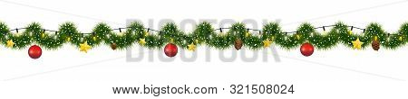 Christmas Garland Of Mistletoe Tinsel With Festive Light And Decorations Of Golden Stars And Pine Co