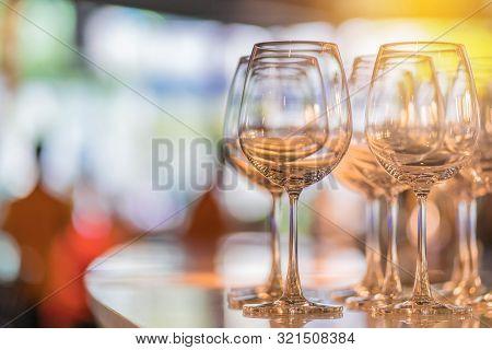 Champagne Glasses Wine Set In Night Club Bar