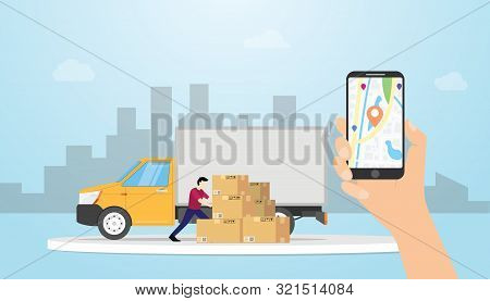 Online Cargo Delivery Tracking System With Truck And Gps Position Locations With Hand Hold Smartphon