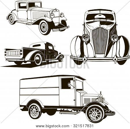 Vector Illustration 4 Retro Cars Set Isolated One Color Symbol Logo Hand Drawing Clip Art Monogram,