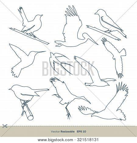 Bird Line Art Set Vector Template Illustration Design. Vector Eps 10.