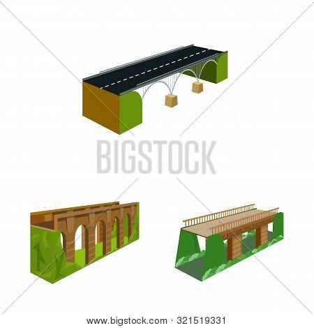 Vector Design Of Bridgework And Architecture Sign. Set Of Bridgework And Structure Stock Symbol For