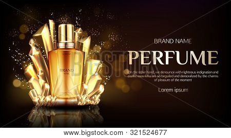 Perfume Bottle With Crystals On Dark Shining Background Mock Up Banner. Glass Flask With Gold Liquid