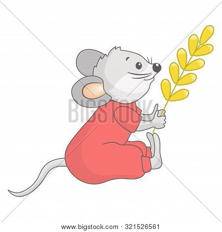 Vector Cute Gray Baby Mouse In Red Jumpsuit With Yellow Spikelet In Paws, Symbol Of 2020
