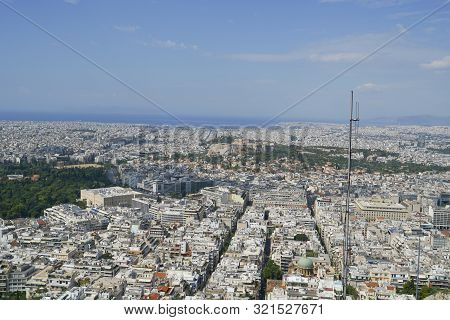 Urban Athens View From Top Mount Lycabettus The Highest Point In The City, Greece.