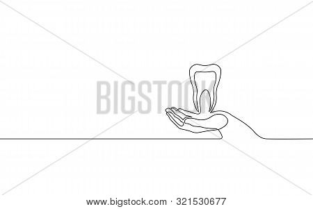 Single Continuous Line Art Anatomical Human Tooth Silhouette. Healthy Medicine Recovery Molar Root C