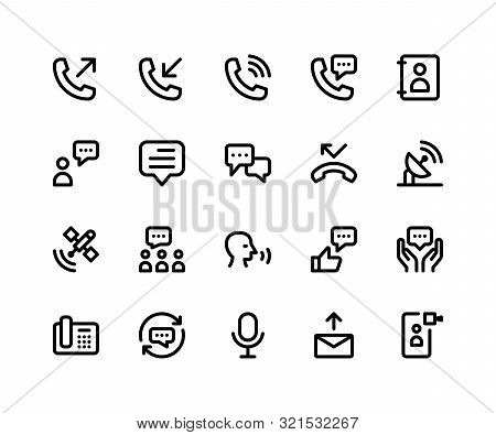 Simple Set Of Communication Related Vector Line Icons. Contains Such Icons As Telephone, Message, Sp