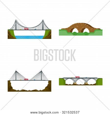 Vector Design Of Bridgework And Bridge Symbol. Set Of Bridgework And Landmark Stock Vector Illustrat