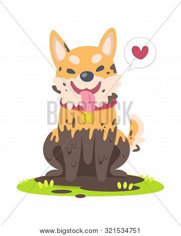 Cute Style Muddy Happy Dog Sitting On Grass Floor Cartoon Vector Illustration
