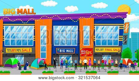 Sale In Shopping Center Vector, People Line By Mall. Character Sleeping In Tent Waiting For Discount
