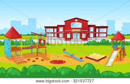 Playground With Carousel And Sandbox Vector, School Institution Building Exterior Facade. Cityscape