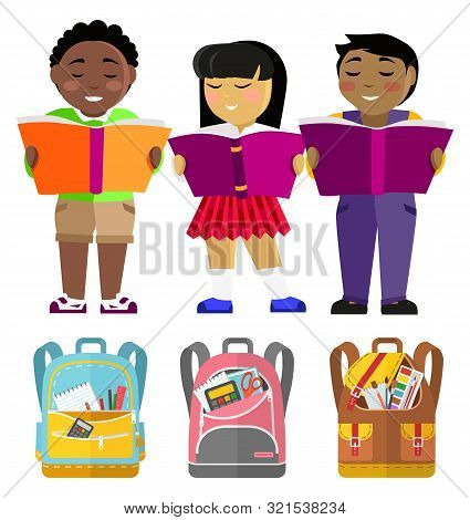 Pupils afroamerican, indian and asian with books and schoolbags, school students. Reading class, boys and girls with textbooks, backpacks or rucksacks with supplies. Back to school. Flat cartoon poster