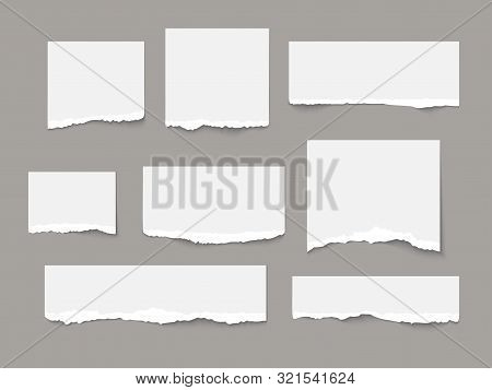 White Torn Paper Tears Pieces Collection Isolated