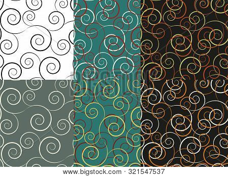 Classic Set With Vintage Swirls Seamless. Textile Ornament. Vector Decorative Frame. Classic Vintage