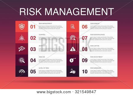 Risk Management Infographic 10 Option Template.control, Identify, Level Of Risk, Analyze Icons