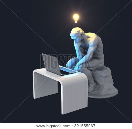 Sculpture Thinker With Laptop And Glowing Light Bulb Over His Head As Symbol Of New Idea. 3d Illustr