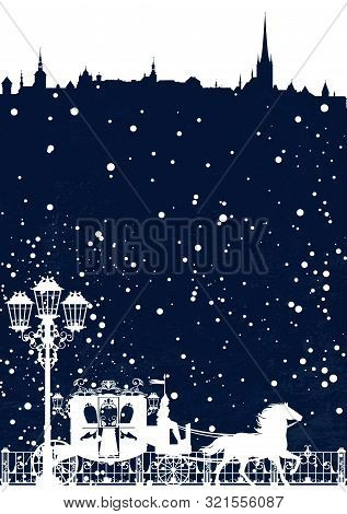 Winter Scene In Medieval City With Carriage And Streetlight - Fairy Tale Christmas Vector Background