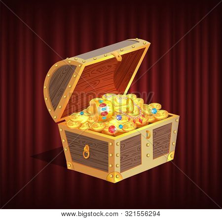 Open Dower Chest With Diamonds, Gold And Silver Coins. 3d View Of Box With Lock And Precious Sign, B