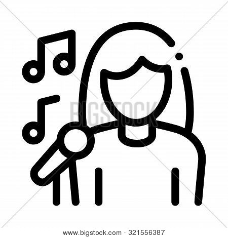 Female Singer With Microphone Sing Recital Vector Icon Thin Line. Microphone And Dynamic, Concert An