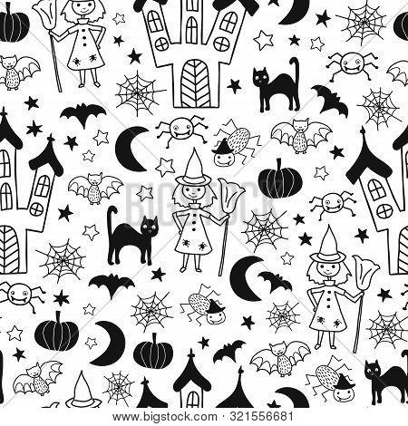 Kids Halloween Vector Pattern. Seamless Monochrome Background With Hand Drawn Witch, Spooky Castle,