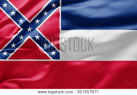 Waving State Flag Of Mississippi - United States Of America