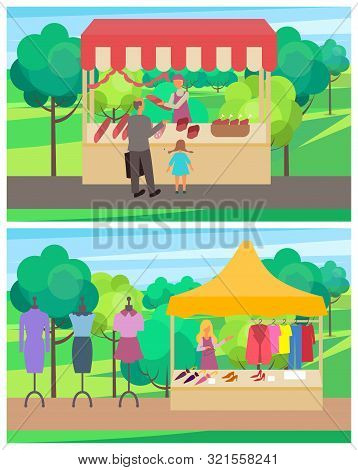 Spring Fair, People Selling Meat Production Butchery And Clothes For Women. Salesperson With Dresses