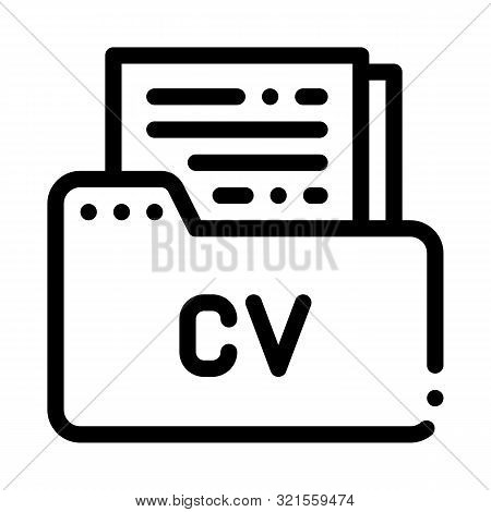 Folder With Curriculum Vitae Cv Job Hunting Vector Icon Thin Line. Hunting Business People And Recru