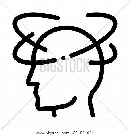 Vertigo Dizziness Man Silhouette Headache Vector Icon Thin Line. Tension And Cluster Headache, Migra