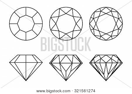 Diamonds Graphic Signs Set. Diamond Types Of Cutting Icons Isolated On White Background. Vector Illu