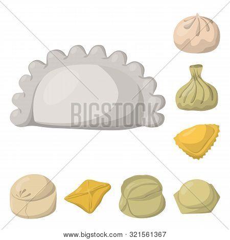 Vector Illustration Of Dumplings And Food Logo. Collection Of Dumplings And Stuffed Stock Symbol For
