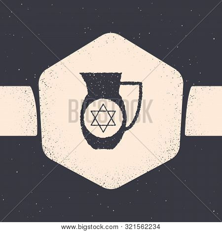 Grunge Decanter With Star Of David Icon Isolated On Grey Background. Pottery Jug. Organic Product In